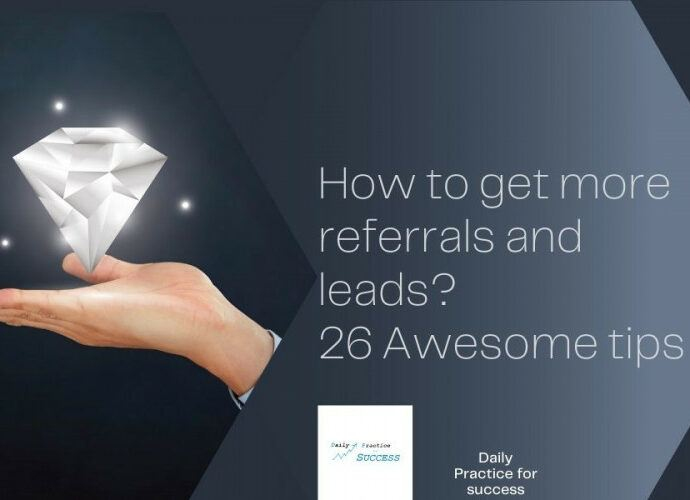 Dark background. A transparent diamomd on a hand and white text: How to get more referrals and leads? 26 Awesome tips
